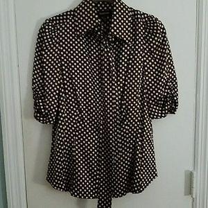 Bebe Dress Top Silk Blouse Sz Med polka dots